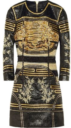 aee3725676e Embellished Metallic Jacquard Mini Dress - Lyst Metallic Mini Dresses