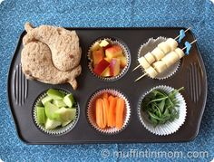 Fish/Dolphin themed Muffin Tin Meal from muffintinmom.com