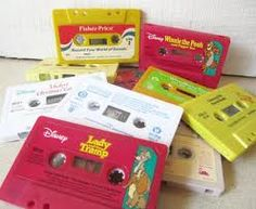 Disney books read on tape, so good! They would ring a bell when it was time to turn the page.