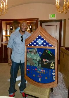 Custom solid oak Army shadow box.  $300. If you are interested in a custom military retirement shadow, contact Tom @ jenkswood@gmail.com or 719-359-0361