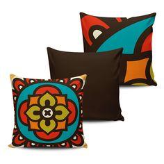KIT com 3 Almofadas Decorativas Mandala 45x45cm - ALMAND010 - Pano e Arte