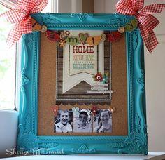 Paint frame, add corkboard, decorate! CUTE bulletin board by Simple Stories!! LOVE!! :)