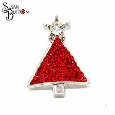 12pcs/lots Alloy Metal Snap Buttons Jewelry Silver Plated Ginger Red Crystal Rhinestone Christmas Tree Snap Buttons SB250 #Affiliate