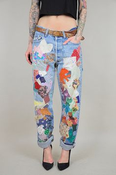70's LEVI'S Patchwork BOYFRIEND Jeans Faded worn-in