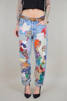 70's LEVI'S Patchwork BOYFRIEND Jeans Faded worn-in