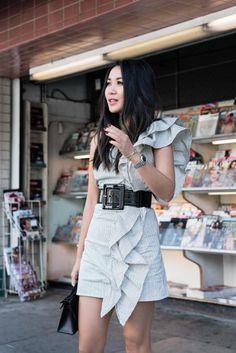 Date Night in LA :: Ruffle dress & Leather belt