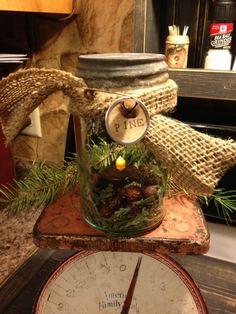 Christmas mason jar vignette