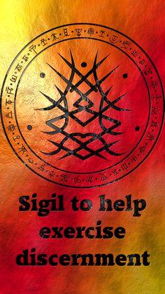 Sigil to help exercise discernment Wiccan Symbols, Magic Symbols, Spiritual Symbols, Sacred Symbols, Protection Sigils, Symbole Protection, Spell Circle, Wiccan Beliefs, Chakras