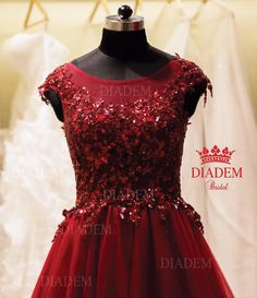 Look Ravishing in this Red wine colour A-line gown For your dream Wedding gown , Reception gown and Saree blouses check our store Diadem !!