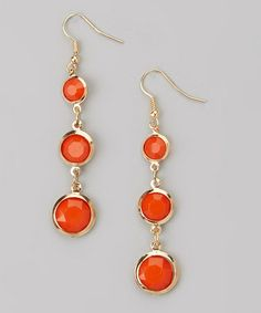 Another great find on #zulily! Orange & Gold Drop Earrings #zulilyfinds