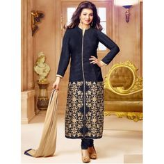 Glamorous Black Georgette Designer Salwar Suit Comes With Matching Color Santoon Bottom, Matching Color Nazneen Dupatta, Santoon Inner.It Contained The Embroidery Work. This Suit Which can be Customized up to bust size 44