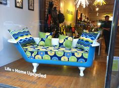 Elegant tub sofa. Available for purchase at Reworks Upcycle Shop. www.shopreworks.ca