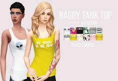 "BAGGY TANK TOP recolour ""another revamp! this top comes with 12 swatches, has its own thumbnail and is maxis match (all texts are in simlish!) you can find the mesh here. the old version will be also available, so don't worry about the old swatches!..."