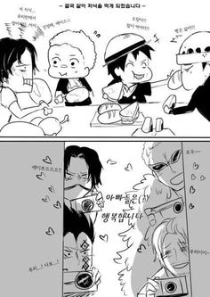 One Piece - Ace, Sabo, Rufy and Law with Roger, Dragon, Doflamingo and Shanks