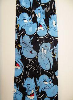 Alladin Genie Necktie Disney Necktie Silk Tie by TomCatBazaar Disney Ties, Cool Ties, Neckties, Silk Ties, Black Backgrounds, Gifts For Him, Cartoons, Friday, My Style