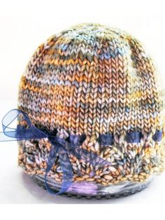 Baby Hat Lacy Lace Edged Hand Knit Hand Dyed Premium Merino Wool, Gold Beige Blue, by KnitzyBlonde | Meylah