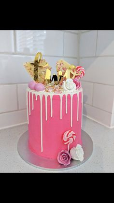 Pink Cakes, Birthday Cake, Pasta, Desserts, Food, Tailgate Desserts, Deserts, Birthday Cakes, Essen