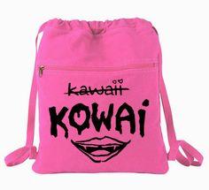 KOWAI not Kawaii Backpack Cinch Bag - scary pastel goth creepy cute mouth school bag skater bag