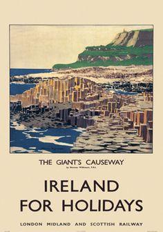 Giants Causeway, County Antrim, Northern Ireland. Vintage LMS Irish Travel poster by Norman Wilkinson