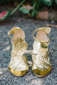 gold shoes; photo: Aaron & Jillian Photography