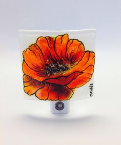 Fused Glass Night Light Red Poppy by CDChilds on Etsy