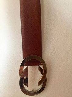 Vintage Gucci Womens Cognac Leather Belt Gold and Silver buckle Size S   fashion   644d6e86501