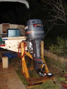 Diy large outboard stand the hull truth boating and for Outboard motor dolly harbor freight