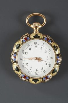 Pocket watch decorated with multicolored floral motifs. The white enameled watch face is set in a gold and enamel frame, and both the hours and minutes are marked in Arabic numerals on th. Antique Clocks, Rare Antique, Retro Clock, Pocket Watch Antique, Motif Floral, Chain Pendants, Gold Watch, Antique Jewelry, Jewelery