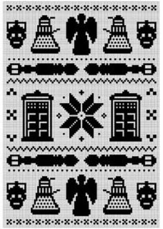 Doctor Who Fair Isle Pattern - for filet crochet, cross stitch, whatever fandom creation you want =) Cross Stitching, Cross Stitch Embroidery, Embroidery Patterns, Cross Stitch Patterns, Stitching Patterns, Needlepoint Patterns, Fair Isle Chart, Fair Isle Pattern, Knitting Charts