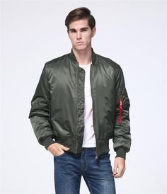 77f9f31c8b2 Men s MA-1 Pilot Bomber Jacket US Air Force Flight Jacket Men Padded Winter  Waterproof