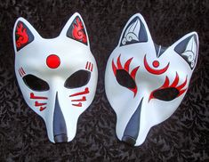 "Two Custom-made Kitsune Masks by ""Merrimask"" displayed on www.deviantart.com"