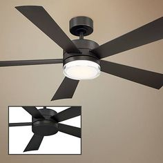 A LED outdoor ceiling fan in a bronze DC motor finish and five matching ABS blades. Five bronze fininsh molded ABS blades. Style # at Lamps Plus. Flush Ceiling Fans, Home Ceiling, Outdoor Ceiling Fans, Led Ceiling, Living Room Ceiling Fan, Ceiling Fan Makeover, Fan Lamp, Spanish Style Homes, Ceiling Height