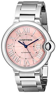 Cartier Women's Baloon Bleu Stainless steel case Stainless steel bracelet Pink dial Automatic movement Scratch resistant sapphire Water resistant up to 3 ATM - 30 meters 99 feet...