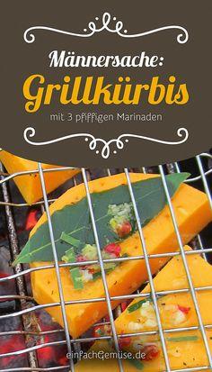 """Geniales Kürbis-Rezept: Grillkürbis mit 3 pfiffigen Marinaden.  Aus dem neuen Heft """"Kürbis"""" – gleich gratis anfordern bei einfachGemüse.de"""