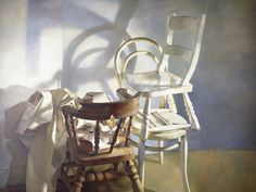 Still-Life-Study of Chairs. 1981 Robert had a fascination with chairs. He had quite a few bright coloured chairs in his studio. Marcel Duchamp Bicycle Wheel, The Empty Chair, Colorful Chairs, Wishbone Chair, Rocking Chair, Fascinator, Still Life, Oil On Canvas, Modern Art