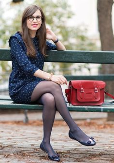 5 Reasons Why French Women Do It Better – Glam Radar : ballet-flats-with-anchor-print-dress-and-tights Pantyhose Outfits, Black Pantyhose, Black Tights, Nylons, Navy Tights, Ballerinas Outfit, Ballet Flats Outfit, Tights Outfit, Dress With Tights