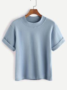 Blue Mock Neck Cuffed T-shirt