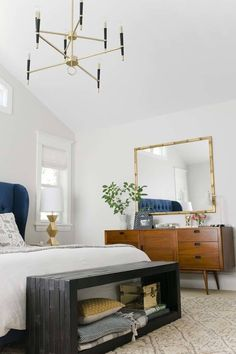 Emily Henderson - bedrooms - Sherwin Williams - Crushed Ice - Target  Brompton Tufted Wingback Velvet Bed 2eb103938c0f