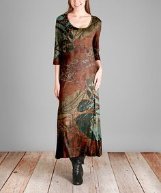 Another great find on #zulily! Rust & Green Abstract Scoop Neck Midi Dress #zulilyfinds