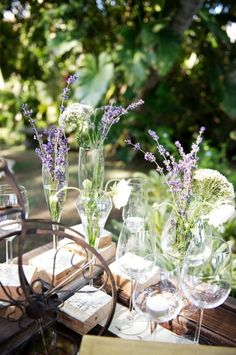 Flowers in champagne and wine glasses