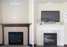 feeling lovesome: fireplace makeover, pretty white fireplace