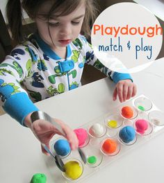 Playdough Match and Play -- a fantastic activity from Allison McDonald of No Time for Flash Cards as she visits Not Just Cute.