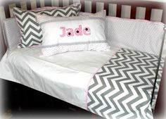 Grey chevron with pink detail