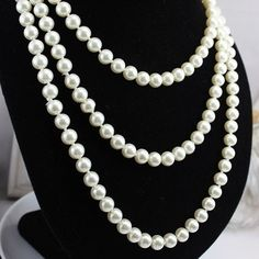 Vintage Necklace 2014 New Design White Freshwater Pearl Long Necklace150cm can Optional collocation-inChain Necklaces from Jewelry on Aliexp...