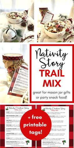 Are you looking for an inexpensive gift that helps you share the true meaning of Christmas?This Nativity Christmas Story Trail Mix is perfect as a mason jar gift or a treat to bring to your next Christmas get-together! Each items tells a different part of the Christmas story of Jesus' birth! Perfect gift for teachers, coaches, bus drivers, co-workers - everyone! Click to make your own! #christmasgift #homemade #diy #trailmix #nativity #jesusbirth #meaningfulgifts #snacks #partyfood