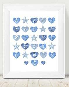 Blue Alphabet Print ABC Nursery Blue by OutsideInArtStudio on Etsy