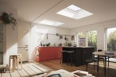 VELUX roof windows flood this SSE with light and when opened, fresh air. Wooden Terrace, Wooden Pergola, Kitchen Extension Flat Roof, Single Storey Extension, Cheap Pergola, Pergola Kits, Pergola Ideas, British Home, Roof Window