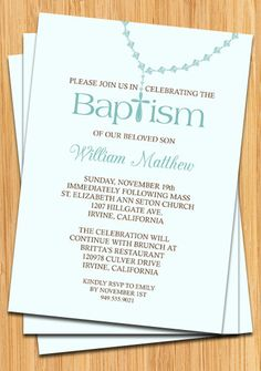 Aqua Brown Ribbon Baptism Christening invitations Baptism