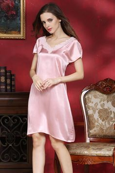1pc Lace V neck Sleep Silk Dress Knee Length Nightgowns For Women Pink  Solid Color M L bd9b3bbe4