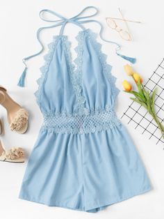 Lace Trim Open Back Halter RomperFor Women-romwe Teen Fashion Outfits, Outfits For Teens, Girl Fashion, Girl Outfits, Cute Summer Outfits, Cute Casual Outfits, Crop Top Outfits, Cute Rompers, Romwe